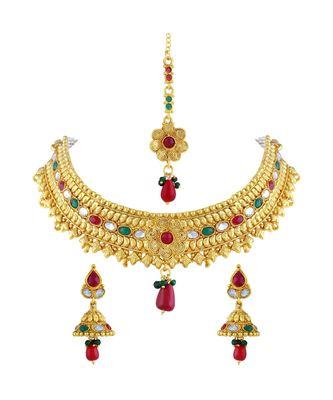 Gold Tone Choker Style Necklace Set With Mangtikka