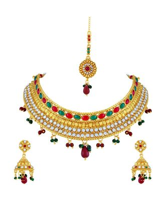 Gold Tone Choker Style Necklace Set With Mangtikka