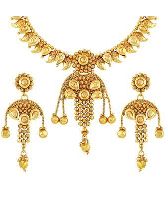 Designer Gold Plated Copper Necklace Set For Women