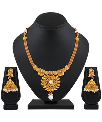 Traditional Gold Plated Choker Style Copper Necklace Set For Women