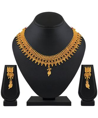 Traditional Designer Gold Plated Choker Style Copper Necklace Set For Women