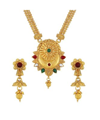 Traditional Flower Design Gold Plated  Necklace Set For Women