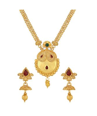Traditional Pear Shape Design Gold Plated  Necklace Set For Women