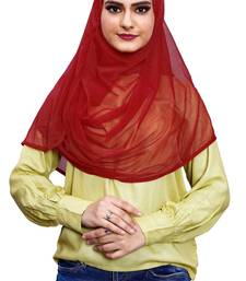 Justkartit Occasion Wear Red Color Soft Net Lycra Stitched Hijab Scarf For Women (To Be Worn On Hijab Cap)