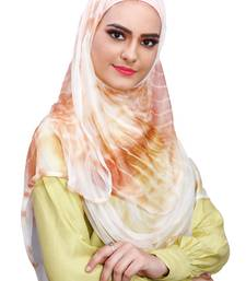 Justkartit Daily Wear Beige Color Instant Stitched 2 Loop Net Lycra Hijab Scarf For Women (To Be Worn On Hijab Cap)