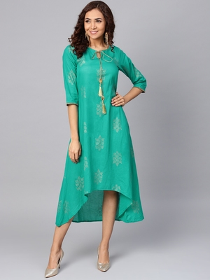 Teal printed cotton long-kurtis
