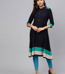 Navy-blue plain liva kurtas-and-kurtis