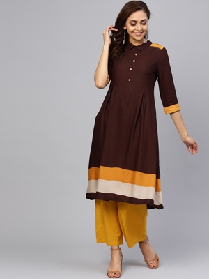 Brown plain liva kurtas-and-kurtis