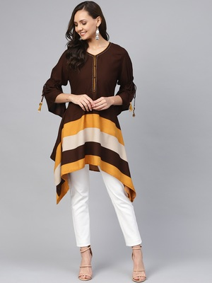 Brown plain liva short-kurtis