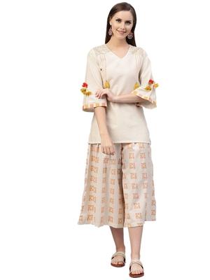 Off-white printed cotton kurtas-and-kurtis