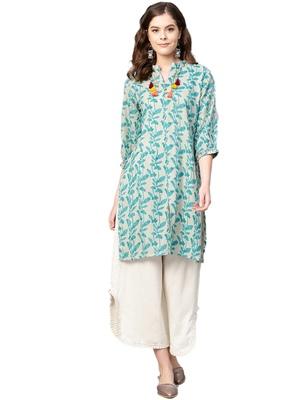 Off-white floral print cotton salwar