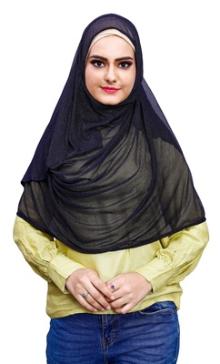 Black Color Stitched Soft Net Lycra Hijab Scarf For Women (To Be Worn On Hijab Cap)