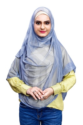 Sky Blue Color Instant Soft Net Lycra Hijab Scarf For Women (To Be Worn On Hijab Cap)
