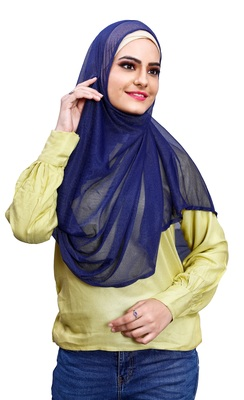 Soft Net Lycra Stitched Instant Hijab Scarf For Women (To Be Worn On Hijab Cap)
