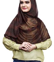 Coffee Color Soft Net Lycra Instant Stitched Hijab Scarf For Women (To Be Worn On Hijab Cap)