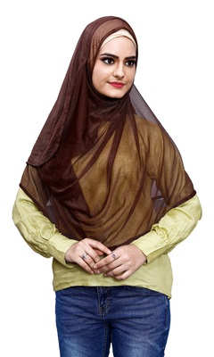 Brown Color Soft Net Lycra Instant Hijab Scarf For Women (To Be Worn On Hijab Cap)