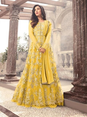 Yellow embroidered net Anarkali suit