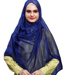 Blue Color Stitched Instant Hijab Scarf For Women (To Be Worn On Hijab Cap)