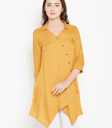 Mustard plain liva long-kurtis