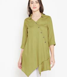 Olive plain liva long-kurtis