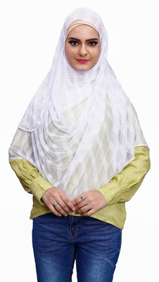 Occasion Wear Stitched Instant Hijab Scarf For Women (To Be Worn On Hijab Cap)