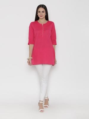 Dark-pink plain cotton long-kurtis
