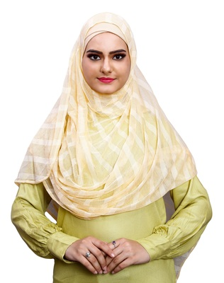 Daily Wear Beige Color Instant Hijab Scarf For Women (To Be Worn On Hijab Cap)