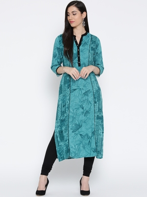 Teal printed liva long-kurtis