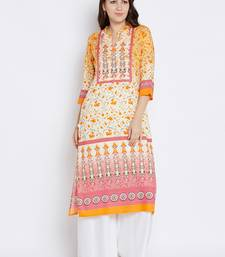 Off-white printed liva long-kurtis