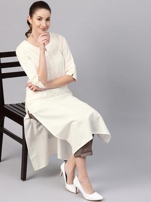White plain cotton long-kurtis