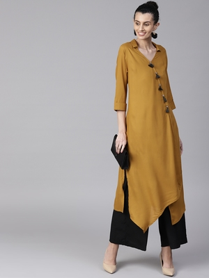 Mustard plain liva long-kurtis