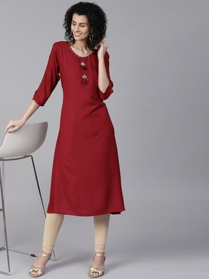 Maroon plain liva long-kurtis