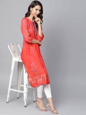 Red printed liva long-kurtis