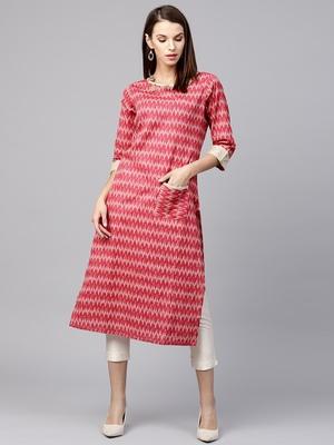 Red printed cotton long-kurtis