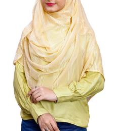 Beige Color Soft Net Lycra Instant Stitched Hijab Scarf For Women (To Be Worn On Hijab Cap)