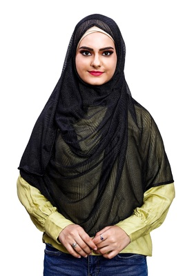 Net Lycra Stitched Instant Hijab Scarf For Women (To Be Worn On Hijab Cap)