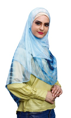 Occasion Wear Sky Blue Color Soft Net Lycra Instant Stitched Hijab Scarf For Women (To Be Worn On Hijab Cap)