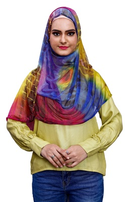 Multi Color Soft Net Lycra Instant Hijab Scarf For Women (To Be Worn On Hijab Cap)