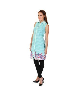 SKY blue printed cotton kurti