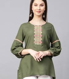 Olive embroidered liva kurtas-and-kurtis