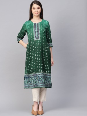 Green printed art silk kurtas-and-kurtis