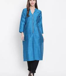 Turquoise plain dupion silk kurtas-and-kurtis
