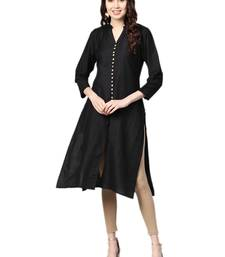 Black plain dupion silk kurtas-and-kurtis