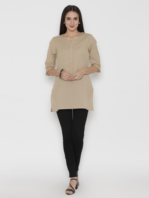 Beige plain cotton short-kurtis