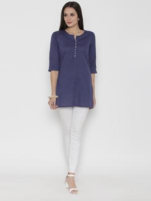 Blue plain cotton short-kurtis