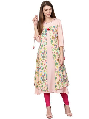 Peach printed liva kurtas-and-kurtis
