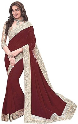 Brown Jacquard Lace chiffon saree with blouse