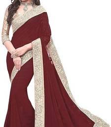 Brown Jacquard Lace chiffon saree with blouse