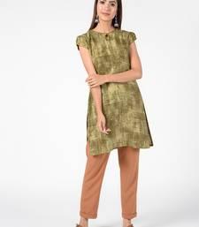 Green printed cotton poly short-kurtis