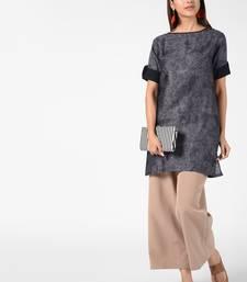 Dark-grey printed cotton poly short-kurtis